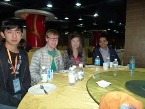 Forrest with his fellow 2013 Scholars eating breakfast in Beijing