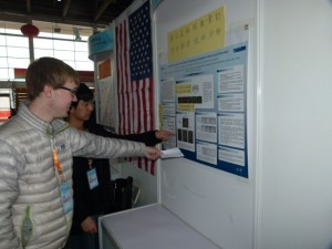 Forrest and Edward Work on Translating Subtitles For Their Posters to Mandarin.