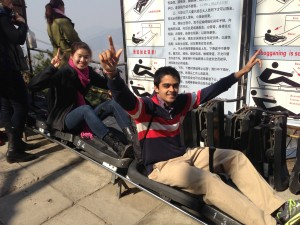 Amy and Dhruv on the luge at the Great Wall