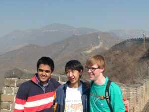 USA Scholars Dhruv, Edward, and Forrest Hanging Out at the Great Wall of China